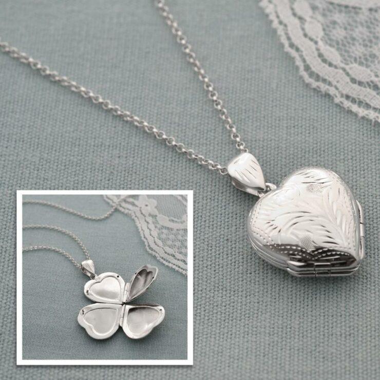 Silver Four Piece Heart Locket by Martha Jackson