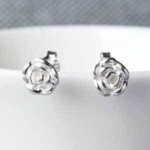 Sterling Silver English Rose Earrings by Martha Jackson