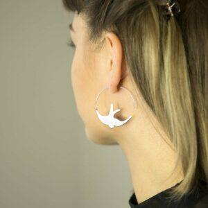 Silver Swallow bird in flight hoop earrings