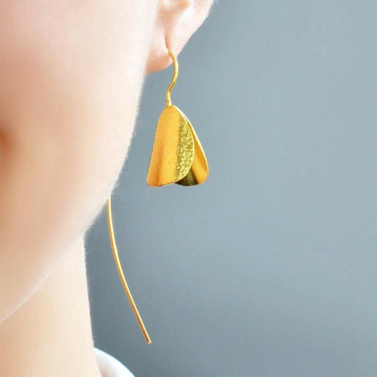 Gold Plated hanging snowdrop earrings