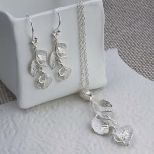 Silver hanging leaves on branch pendant necklace