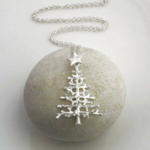 Silver twig christmas tree with five pointed star pendant necklace