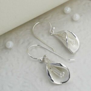 Silver hanging calla lily earrings