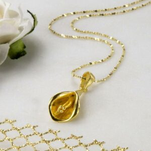 Gold plated blooming calla lily pendant necklace