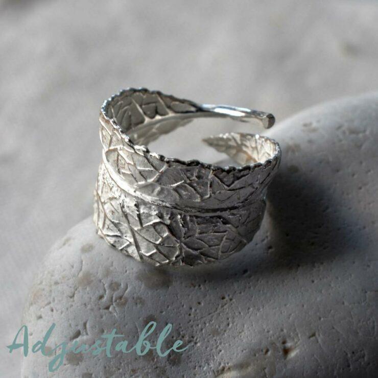 Silver wrap around leaf ring
