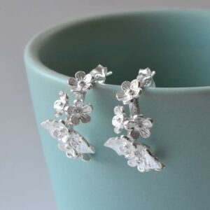 Silver bunches of forget me nots earrings