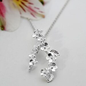 Silver hanging bunches of forget me nots pendant necklace