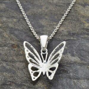 Silver medium butterfly in flight pendant necklace