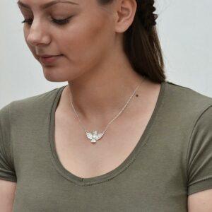 Silver owl in flight pendant necklace