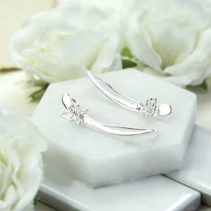 Polished simple silver bar with small butterfly ear climbers