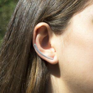 Polished simple silver bar ear climbers