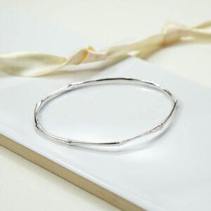 Silver thin bamboo bangle
