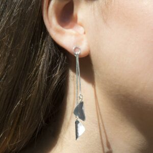 Silver leaves and twig hanging earrings