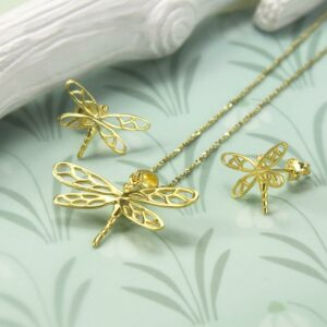 Gold plated dragonfly in flight pendant necklace