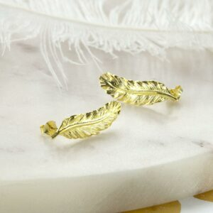 Gold plated curved feather studs