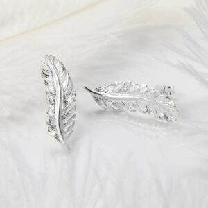 Polished silver curved feather studs
