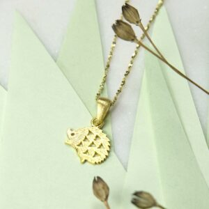 Small Gold plated hedgehog pendant necklace