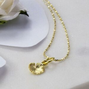 Small Gold plated open lily pad pendant necklace