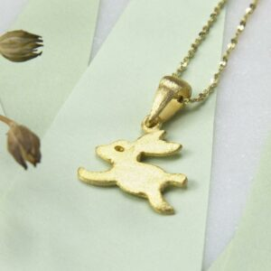 Small Gold plated leaping bunny pendant necklace