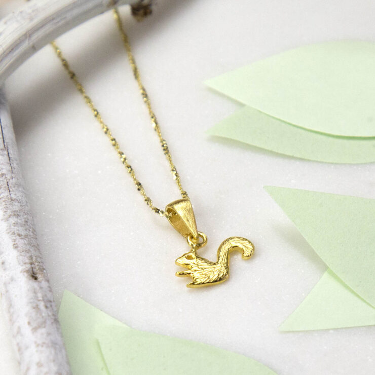Small Gold plated squirrel pendant necklace