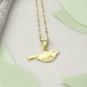 Small Gold plated garden bird pendant necklace