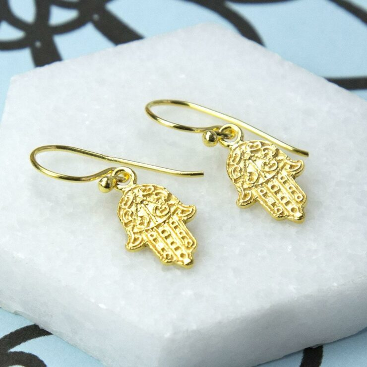 Gold plated fatima hand hanging earrings