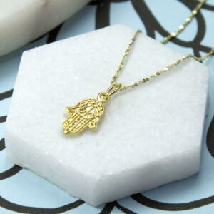 Gold plated fatima hand pendant necklace