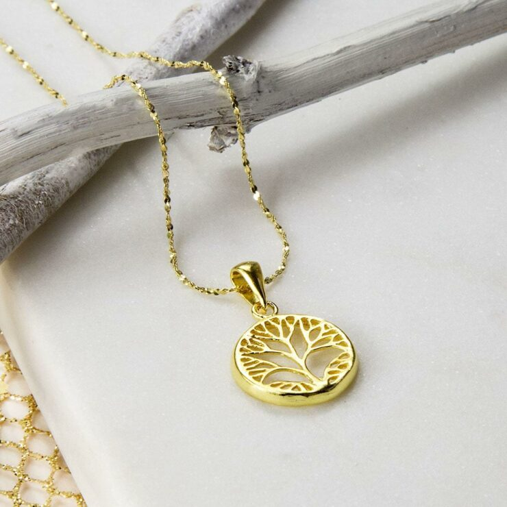 Gold plated tree inside a circle pendant necklace