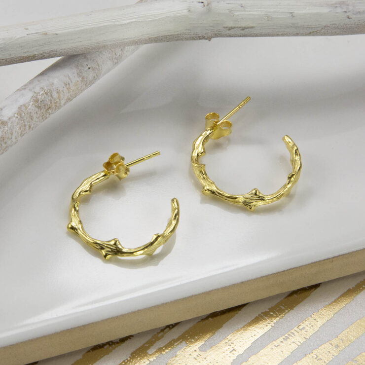 Gold plated twig branch hoops