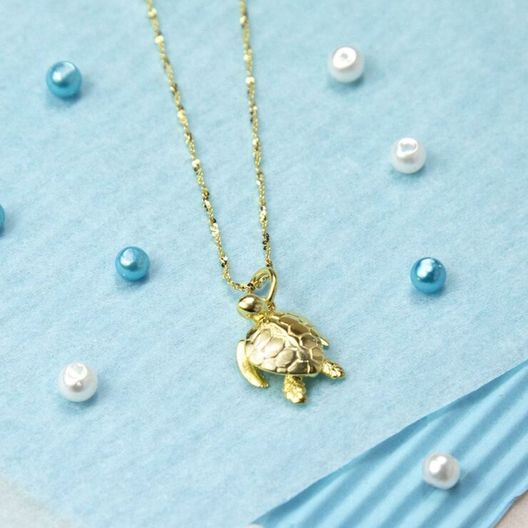 Small Gold plated turtle figurine pendant necklace