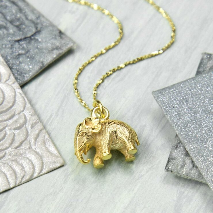 Small Gold plated elephant figurine pendant necklace