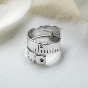Silver adjustable wrap around measuring tape ring