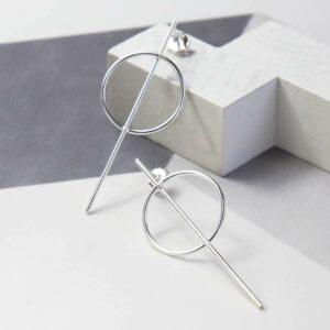 Silver bar through ring studs