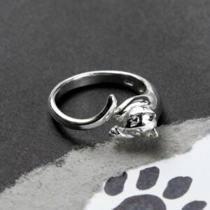 Silver adjustable wrap around cat ring
