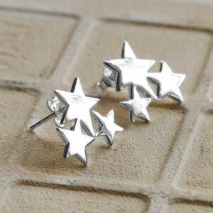 Small silver triple star studs