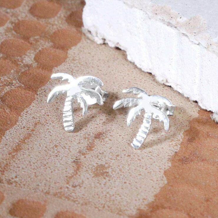 Small silver palm tree studs