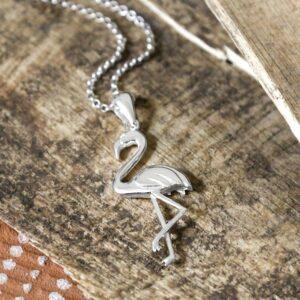 Silver flamingo pendant necklace