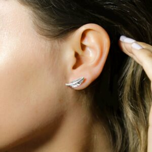 Small silver feather studs