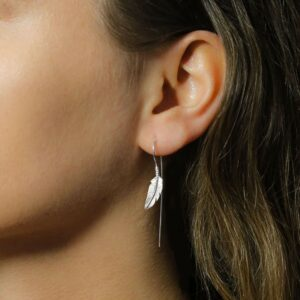 Small silver single feather hanging bar earrings