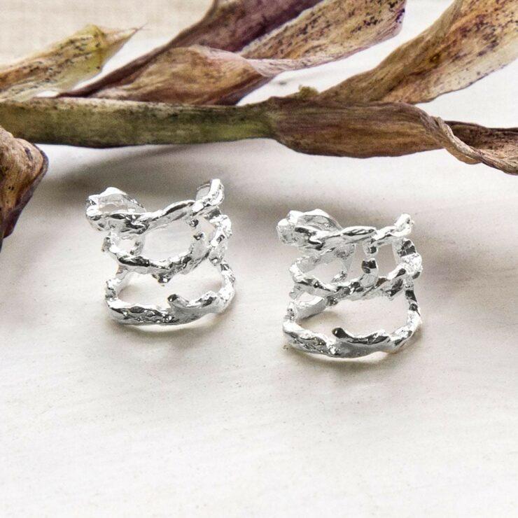 Silver rough textured bark ear cuffs