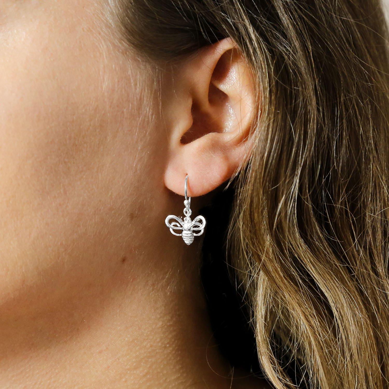 Polished silver hanging bee earrings