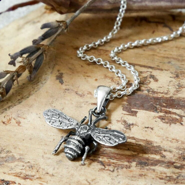 Oxidised silver bee pendant necklace