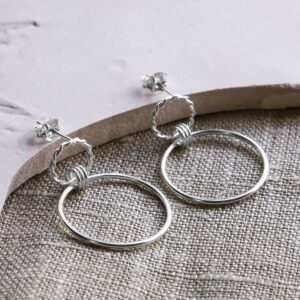 Silver woven wreath hanging hoop earrings