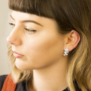 Silver forget me not hanging earrings