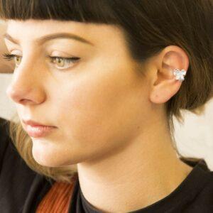 Silver open pansy ear cuff