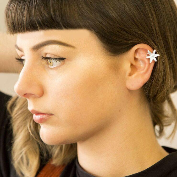 Silver open lily ear cuff