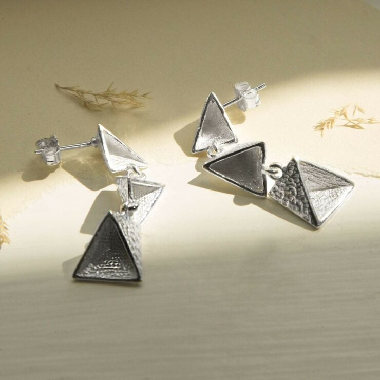 Silver three hanging triangles earrings
