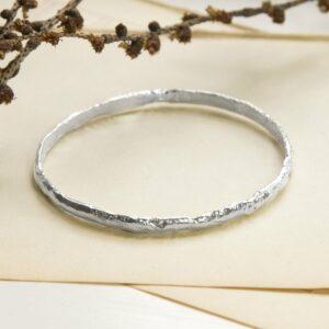 Silver rough textured bark bangle