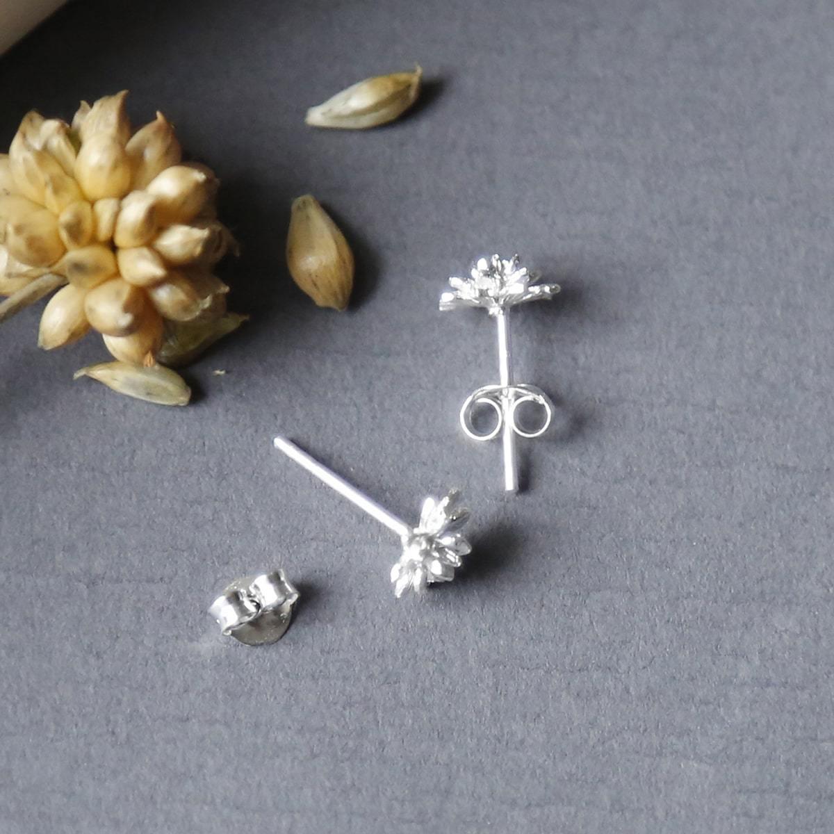 Silver lotus flower studs