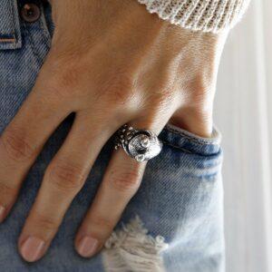 Silver adjustable frog ring